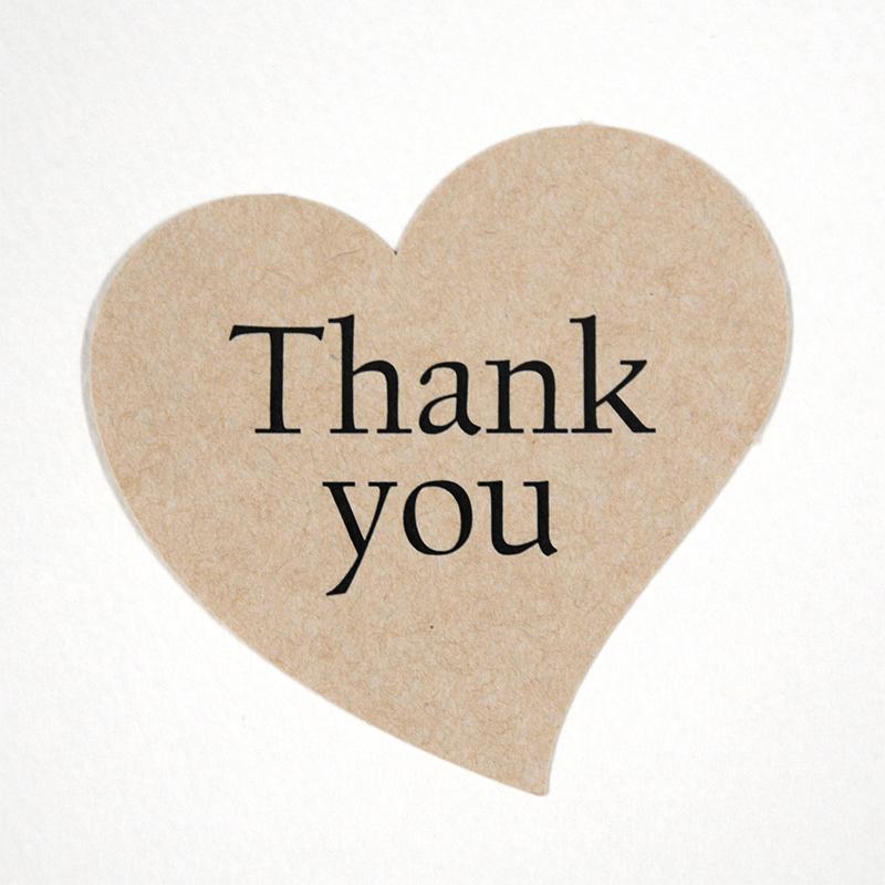 Thank youカード 型抜き カッティング ハート heart 結婚式 ブライダル クラフト紙 ナチュラル